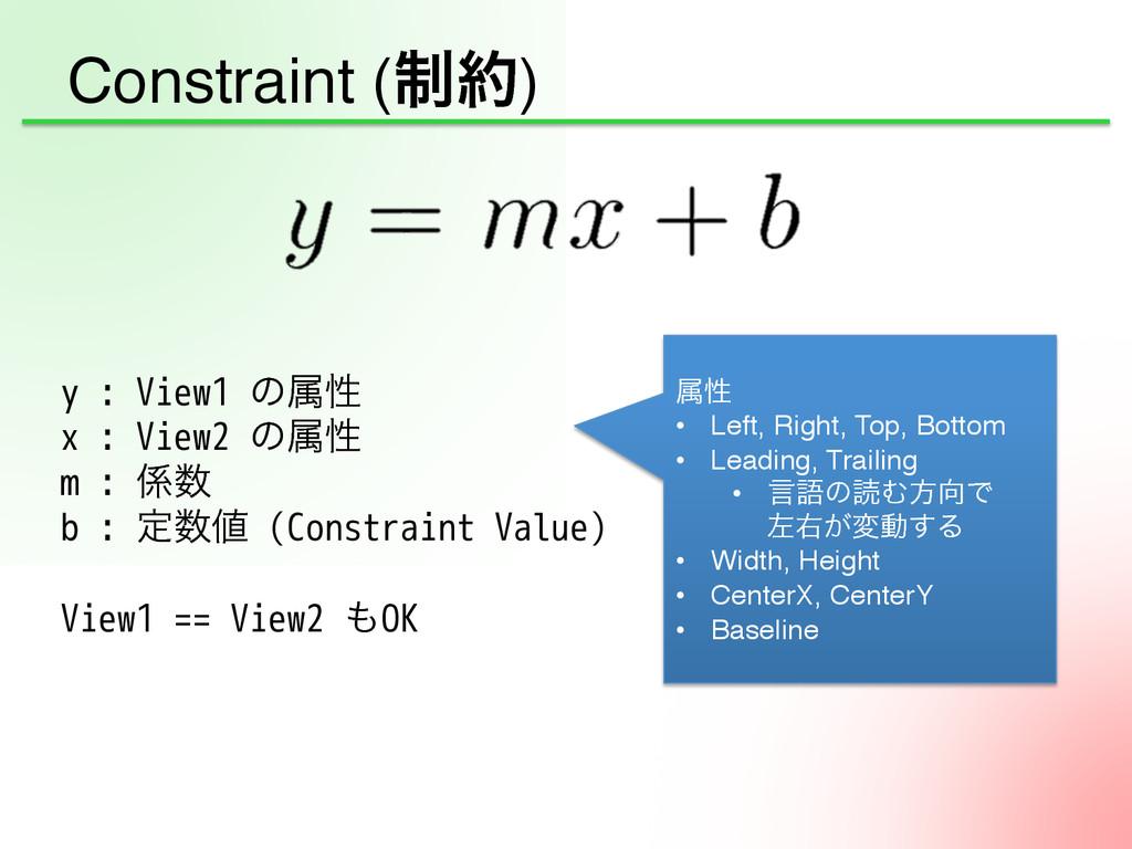 Constraint (੍) y : View1 ͷଐੑ x : View2 ͷଐੑ ...