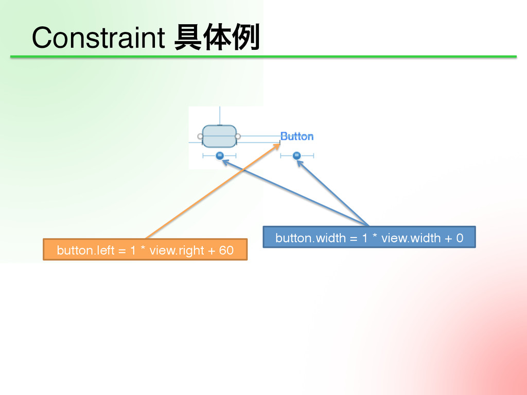 Constraint ۩ମྫ button.left = 1 * view.right + ...
