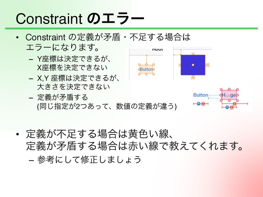 Constraint ͷΤϥʔ • Constraint ͷఆ͕ٛໃ६ɾෆ͢Δ߹ ...