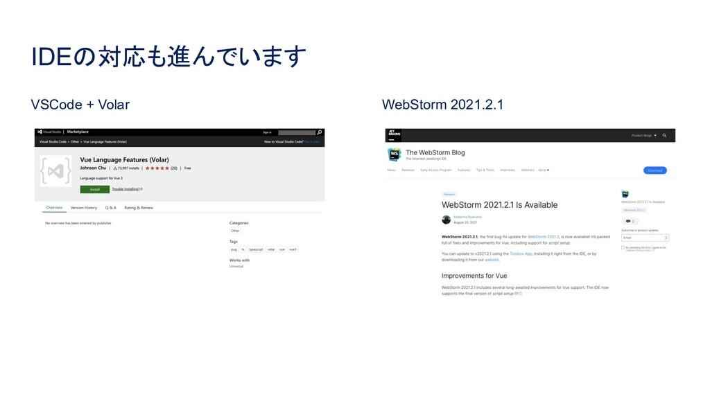 IDEの対応も進んでいます VSCode + Volar WebStorm 2021.2.1