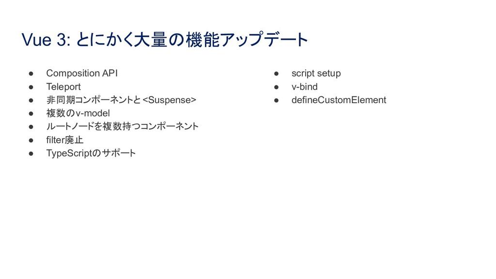 Vue 3: とにかく大量の機能アップデート ● Composition API ● Tele...