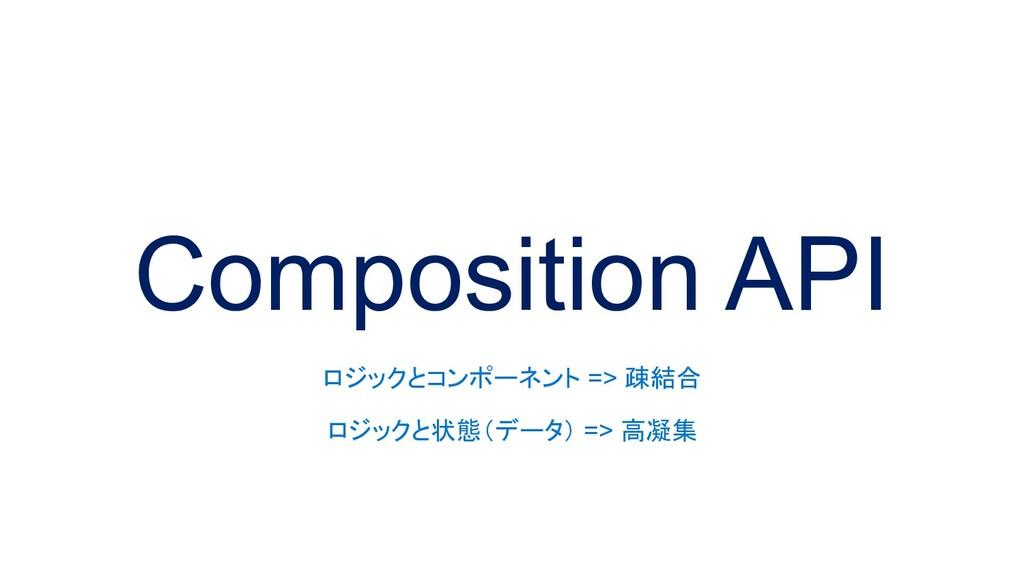 Composition API ロジックとコンポーネント => 疎結合 ロジックと状態(データ...