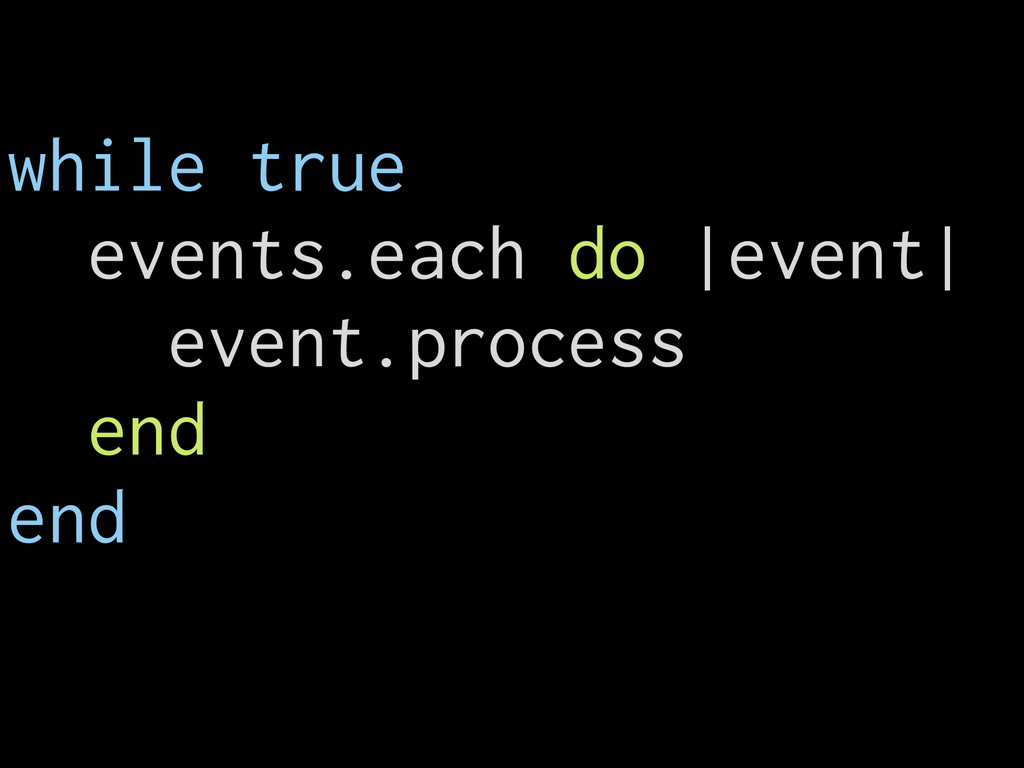 while true events.each do |event| event.process...