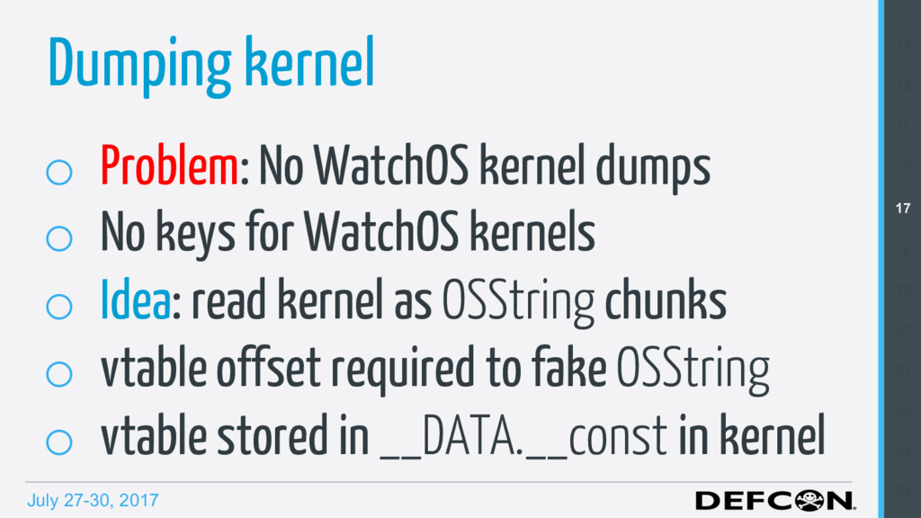 July 27-30, 2017 o Problem: No WatchOS kernel ...