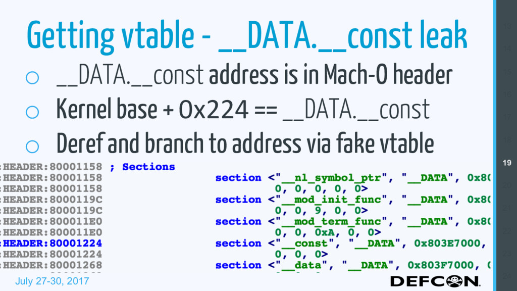 July 27-30, 2017 Getting vtable - __DATA.__cons...