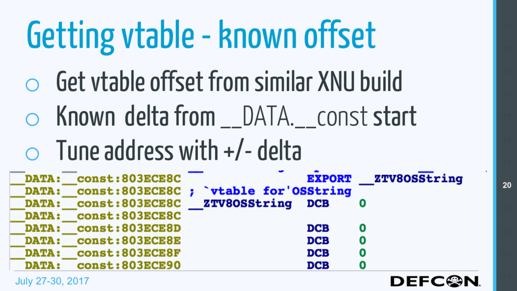 July 27-30, 2017 Getting vtable - known offset ...