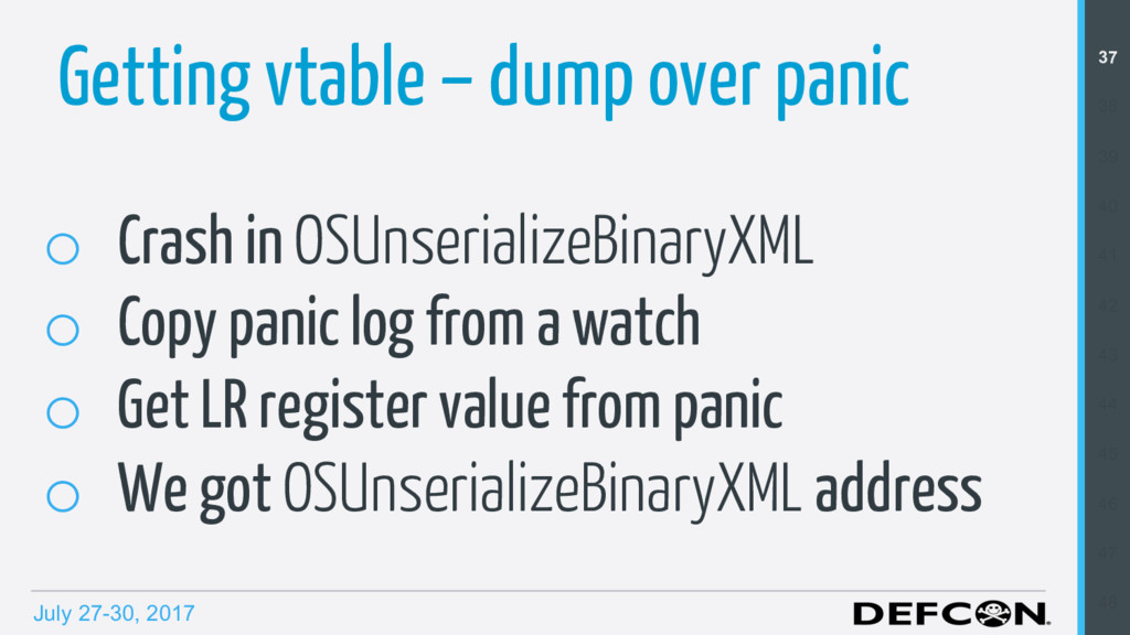 July 27-30, 2017 Getting vtable – dump over pan...