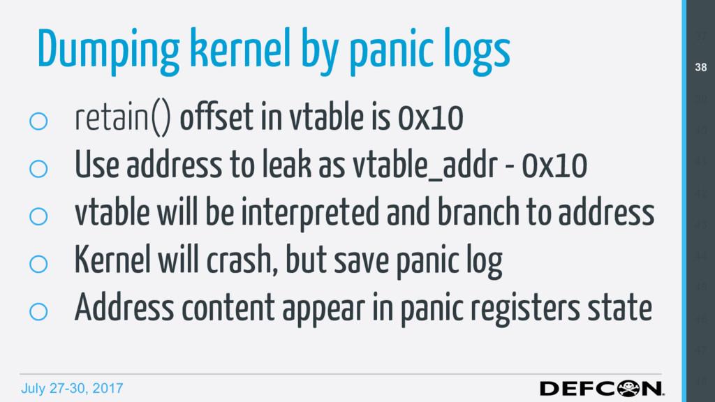 July 27-30, 2017 Dumping kernel by panic logs o...