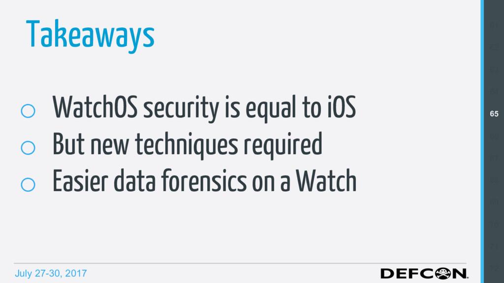 July 27-30, 2017 Takeaways o WatchOS security ...