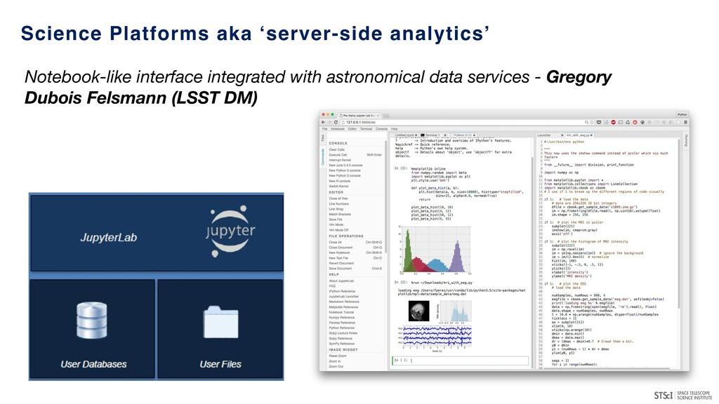 Science Platforms aka 'server-side analytics' N...