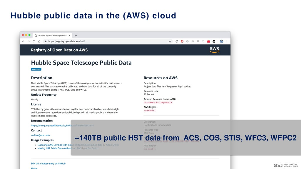 Hubble public data in the (AWS) cloud ~140TB pu...