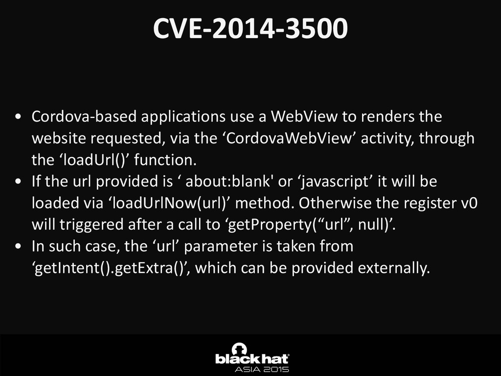 CVE-­‐2014-­‐3500 • Cordova-­‐based	