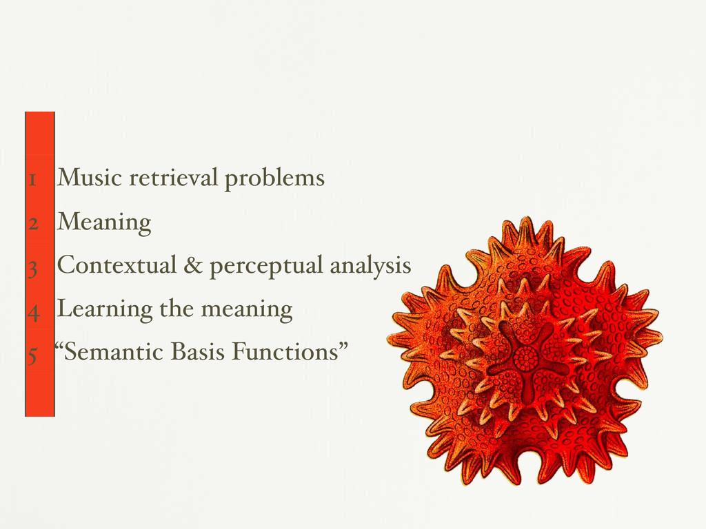 1 Music retrieval problems 2 Meaning 3 Contextu...