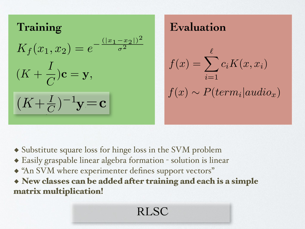 RLSC ◆ Substitute square loss for hinge loss in...