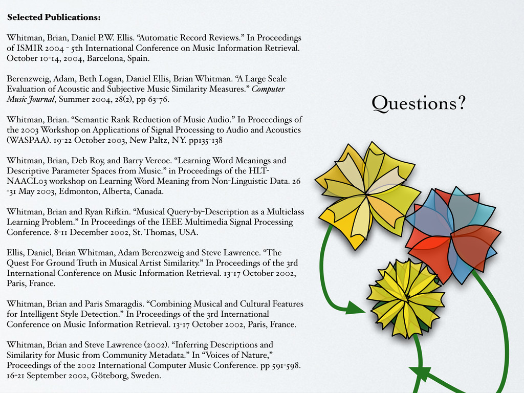 Questions? Selected Publications: Whitman, Bria...
