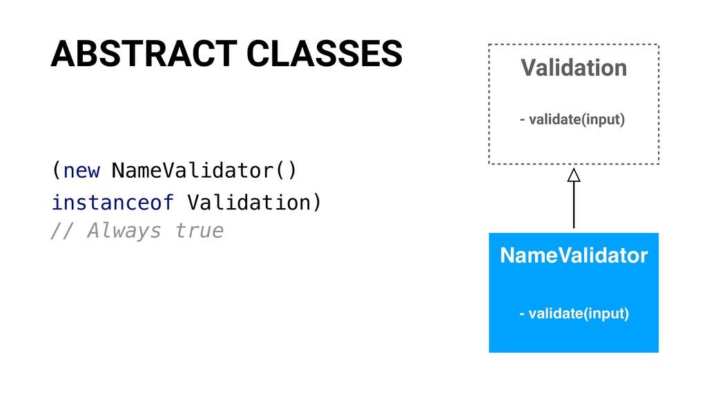 (new NameValidator() instanceof Validation) // ...