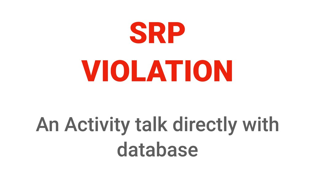 SRP VIOLATION An Activity talk directly with da...