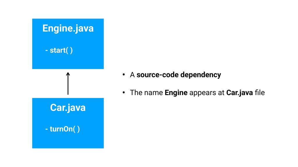 Engine.java Car.java - start( ) - turnOn( ) • A...
