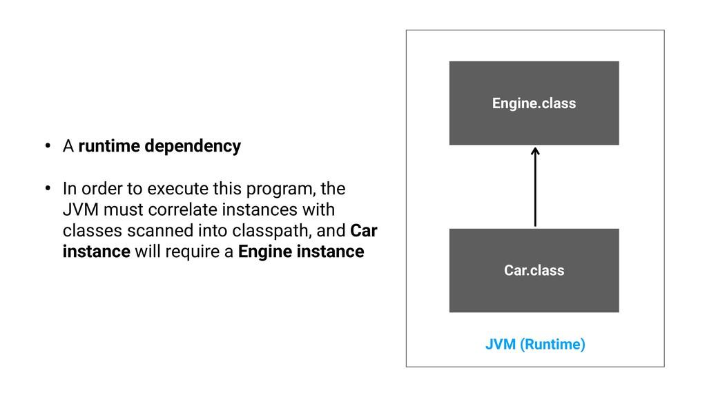 Engine.class Car.class JVM (Runtime) • A runtim...