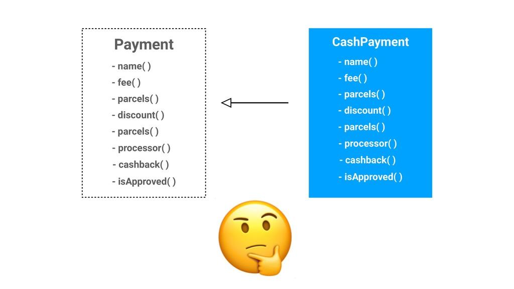 Payment - name( ) - fee( ) CashPayment - parcel...