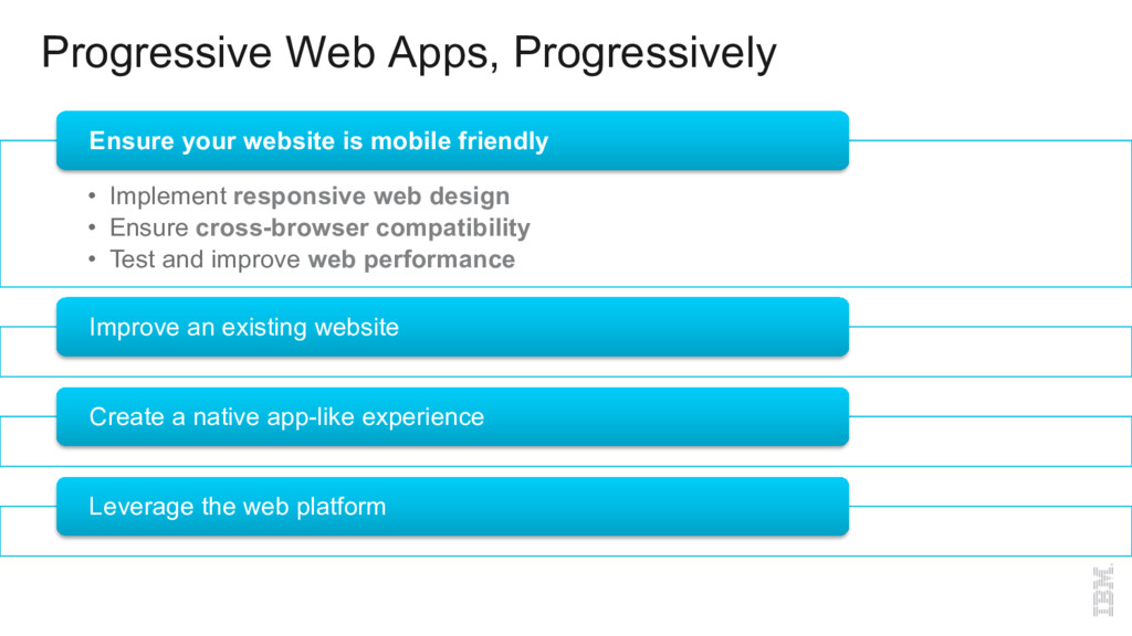 Progressive Web Apps, Progressively •  Implemen...