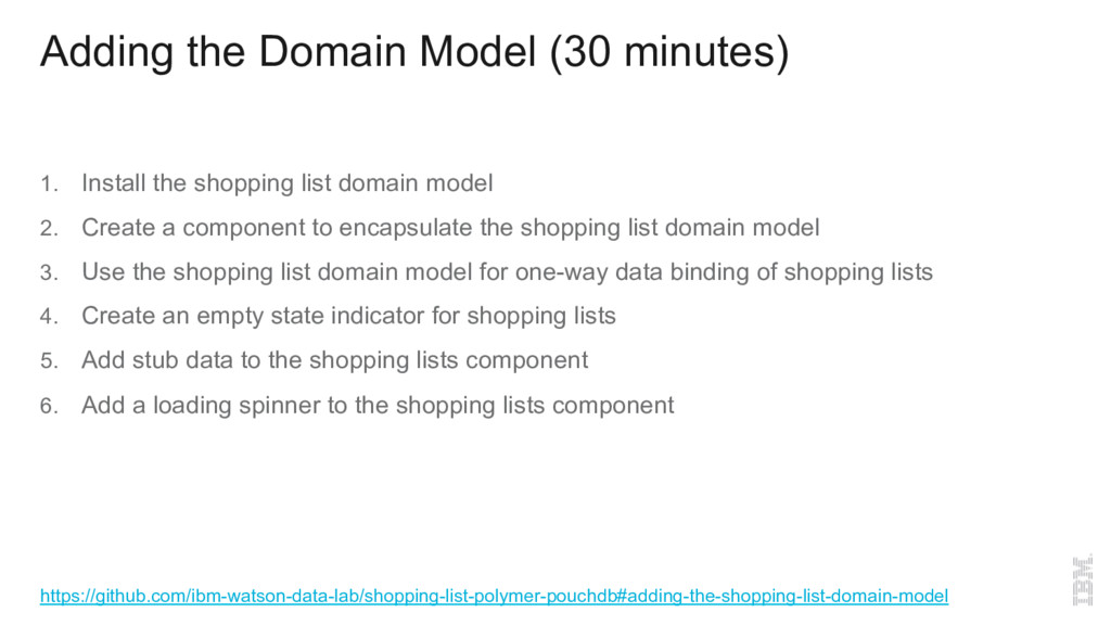 Adding the Domain Model (30 minutes) 1.  Instal...