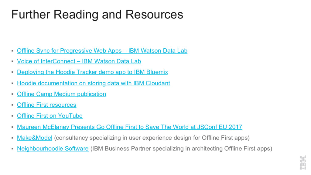 Further Reading and Resources § Offline Sync f...