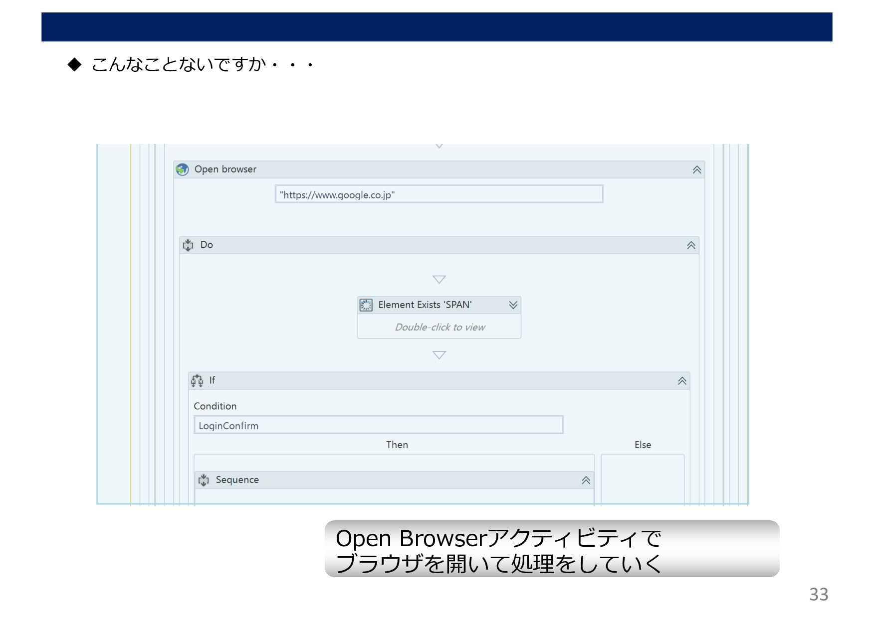 33 u こんなことないですか・・・ Open Browserアクティビティで ブラウザを開い...