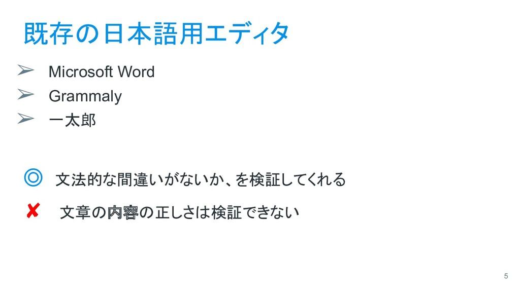 既存の日本語用エディタ ➢ Microsoft Word ➢ Grammaly ➢ 一太郎 ◎...