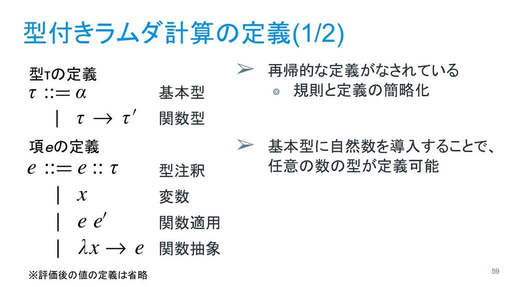 型付きラムダ計算の定義(1/2) ➢ 再帰的な定義がなされている ⭗ 規則と定義の簡略化 ➢ ...