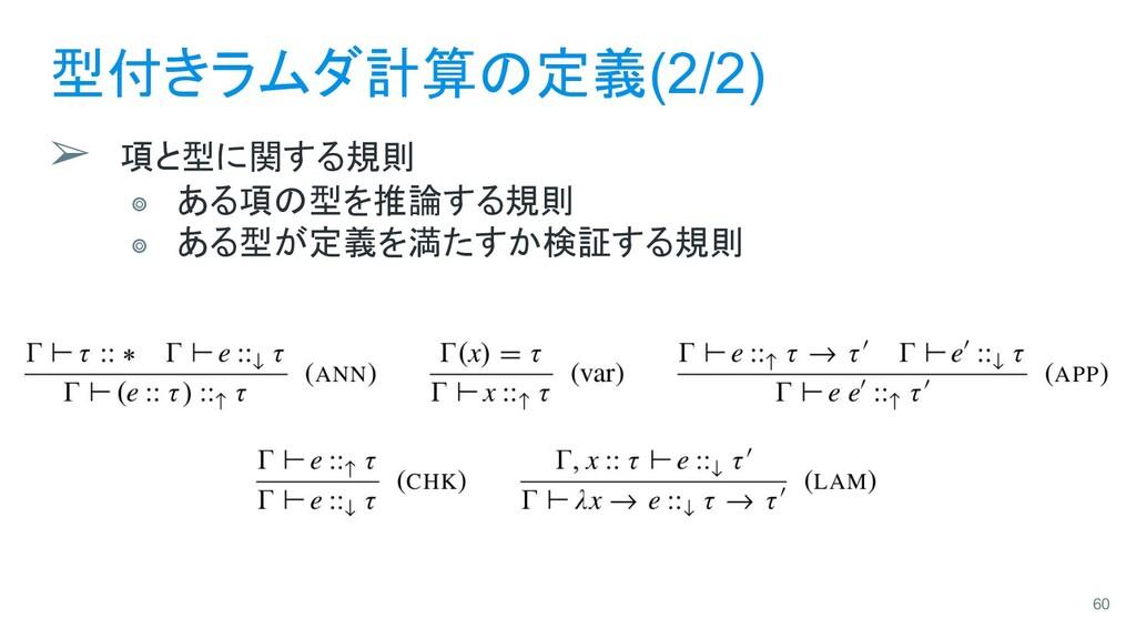 型付きラムダ計算の定義(2/2) ➢ 項と型に関する規則 ⭗ ある項の型を推論する規則 ⭗ あ...
