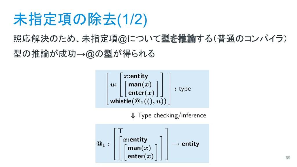 未指定項の除去(1/2) 照応解決のため、未指定項@について型を推論する(普通のコンパイラ) ...