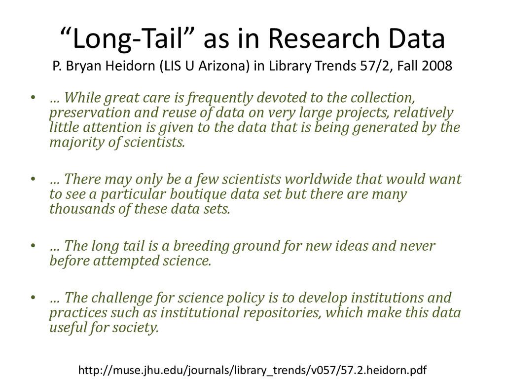 """Long-Tail"" as in Research Data P. Bryan Heidor..."