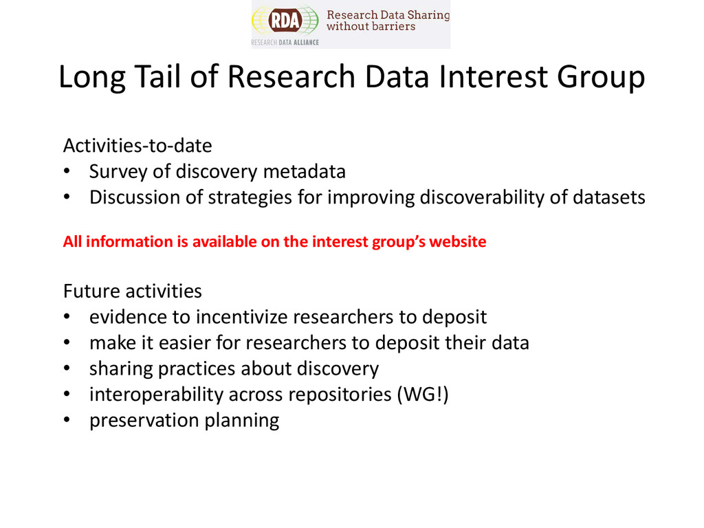 Activities-to-date • Survey of discovery metada...