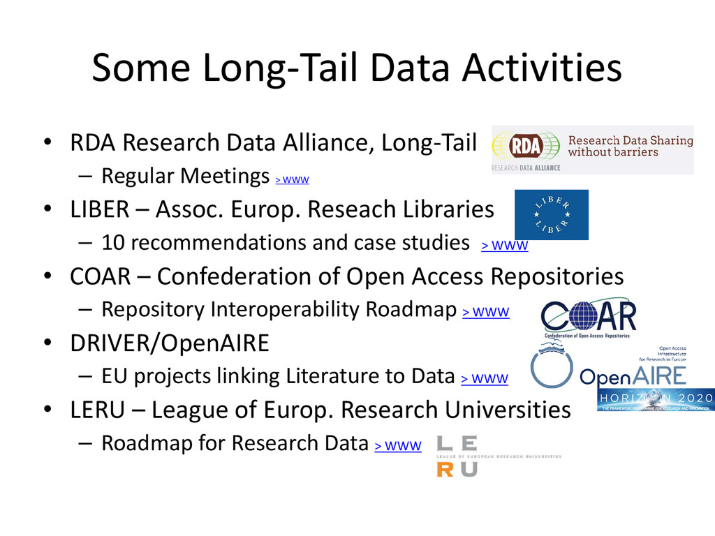 • RDA Research Data Alliance, Long-Tail – Regul...