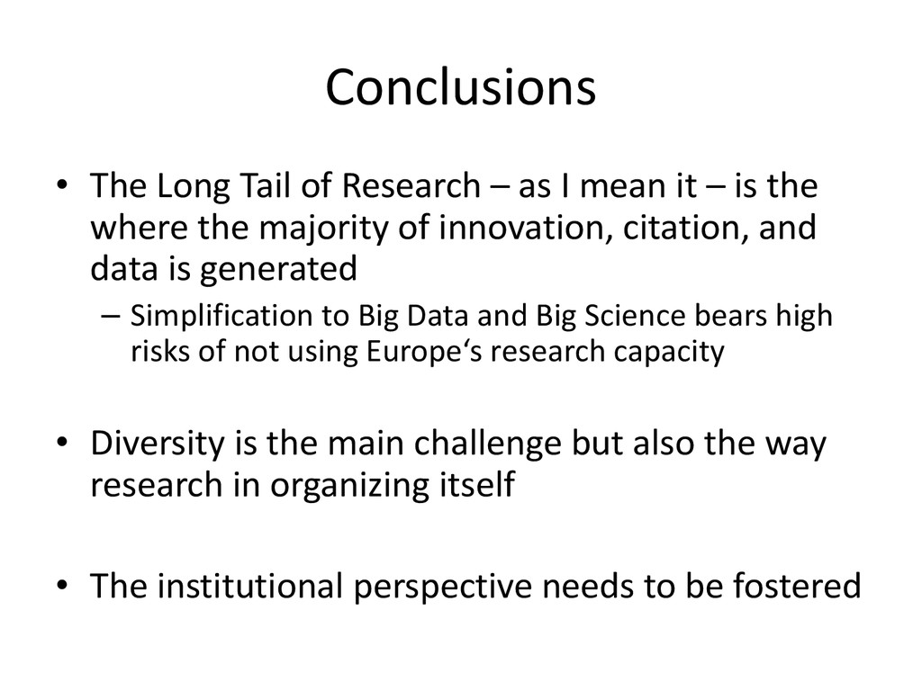Conclusions • The Long Tail of Research – as I ...