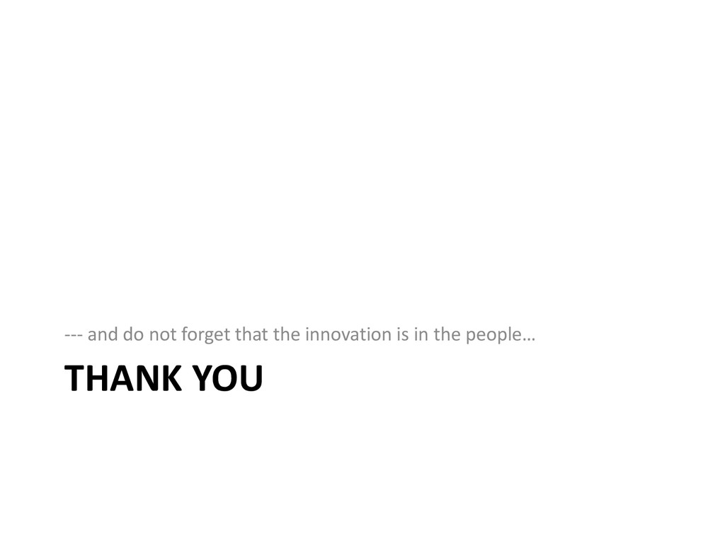 THANK YOU --- and do not forget that the innova...