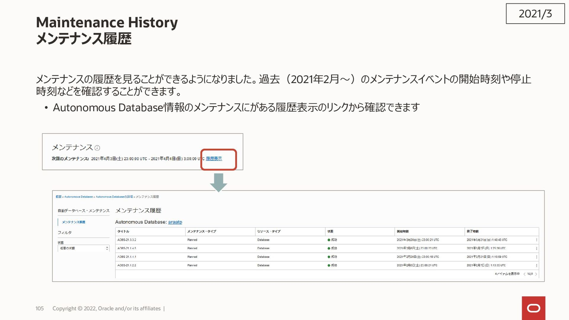 105 Copyright © 2021, Oracle and/or its affilia...