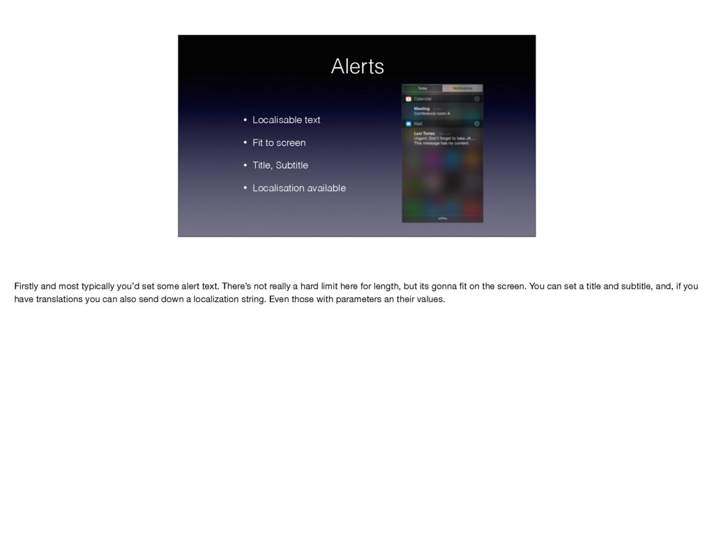 Alerts • Localisable text • Fit to screen • Tit...