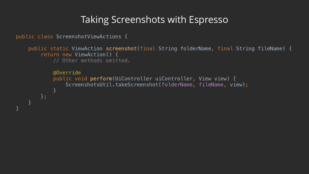 Taking Screenshots with Espresso public class S...