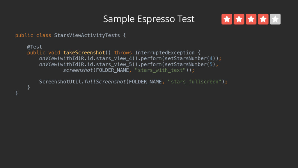 Sample Espresso Test public class StarsViewActi...