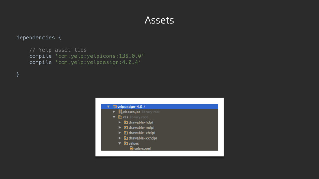 Assets dependencies {  // Yelp asset libs co...