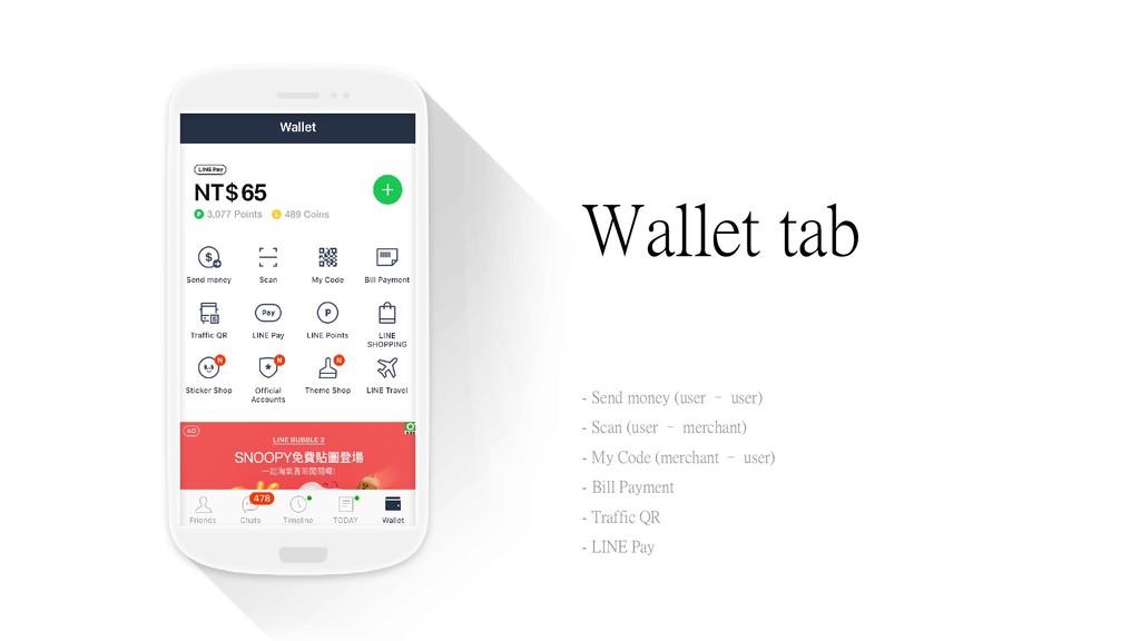 Wallet tab - Send money (user – user) - Scan (u...