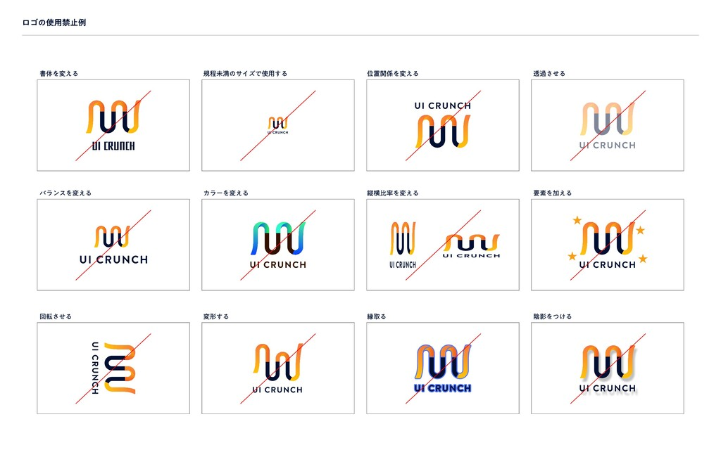 ロゴの使用禁止例 書体を変える バランスを変える 回転させる 規程未満のサイズで使用する 位置...