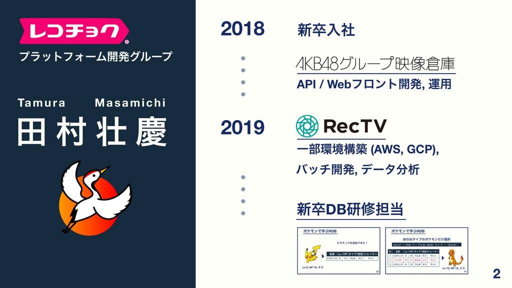 2018 ৽ଔೖࣾ API / Webϑϩϯτ։ൃ, ӡ༻ 2019 Ұ෦ڥߏங (AWS,...