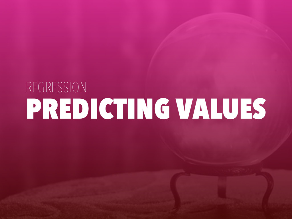 PREDICTING VALUES REGRESSION
