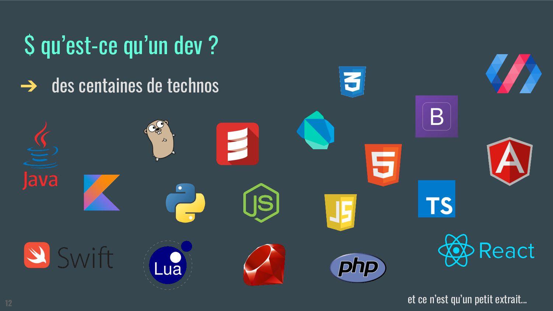$ qu'est-ce qu'un dev ? ➔ des centaines de tech...