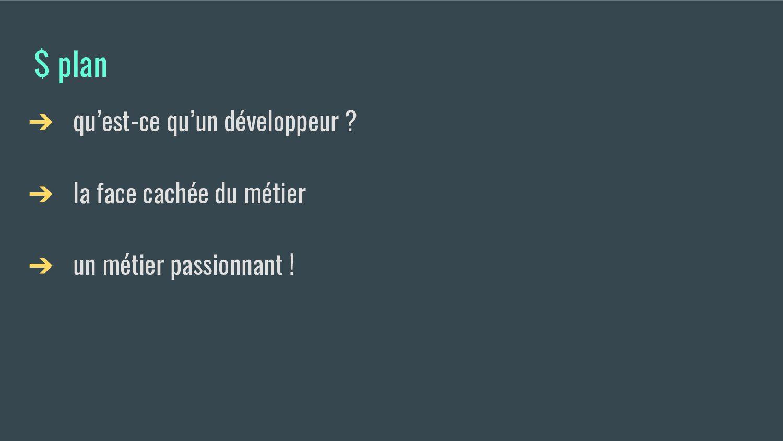 $ plan ➔ qu'est-ce qu'un développeur ? ➔ la fac...