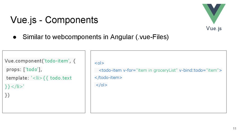 Vue.js - Components ● Similar to webcomponents ...