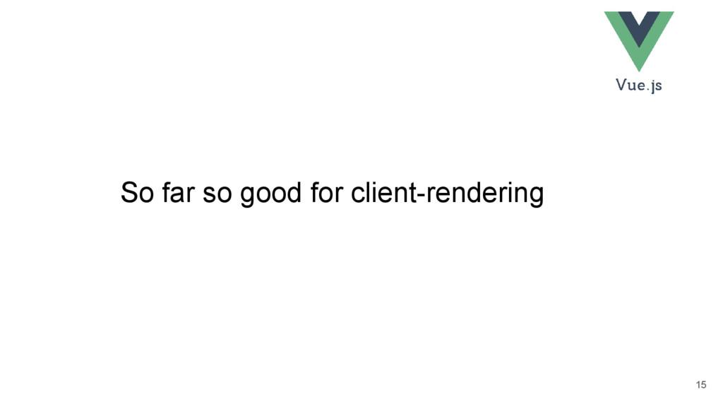 So far so good for client-rendering 15